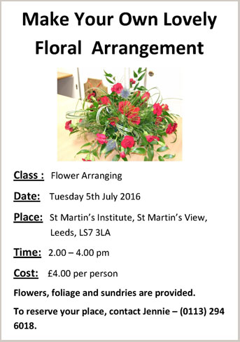 Flower Arranging Class at St Martin's Institute